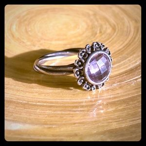 Pandora sterling silver ring with Amethyst